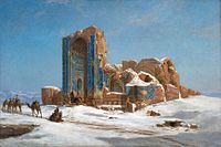 Painting of Blue mosque, Jules Laurens, 1872.