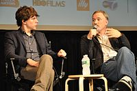 Jesse Eisenberg and Fincher at the 2010 New York Film Festival.