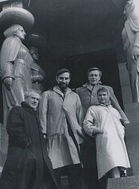 Old Vic tour Yugoslavia, 1959. Young Judi Dench (far right) with fellow actors at the Monument to the Unknown Hero on Mount Avala, Serbia. Joseph O'Conor, left, and John Neville, behind.