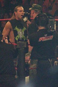Michaels confronting John Cena on an episode of Raw