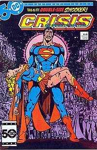 The death of Supergirl, featured on the cover for Crisis On Infinite Earths #7. Art by George Pérez