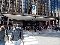 Entrance to New York City's Penn Station, Amtrak's busiest station by boardings.