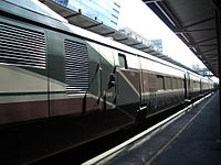 Amtrak Cascades service with tilting Talgo trainsets in Seattle, Washington, 2006