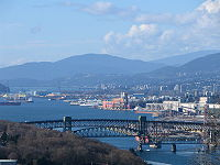 Burrard Inlet and the Second Narrows Ironworkers Memorial Bridge, looking west from Capitol Hill in Burnaby