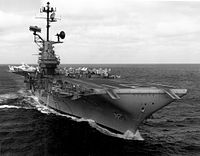 Congress authorizes defense spending such as the purchase of the USS Bon Homme Richard (CV-31).