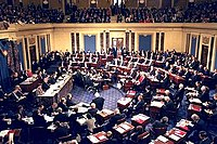 The impeachment trial of President Clinton in 1999, Chief Justice William Rehnquist presiding