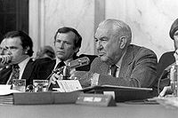 Congress oversees other government branches, for example, the Senate Watergate Committee, investigating President Nixon and Watergate, in 1973–74.