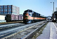 IC #4017, an EMD E7, leads the City of New Orleans at Kankakee, Illinois in August 1964.
