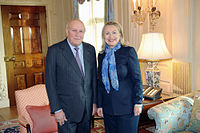 De Klerk with US Secretary of State Hillary Clinton in 2012.