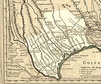 A 1718 map of Texas by Guillaume de L'Isle. Approximate state area highlighted, northern areas indefinite.