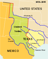 The Republic of Texas with present-day borders superimposed