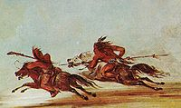 War on the plains. Comanche (right) trying to lance an Osage warrior. Painting by George Catlin, 1834