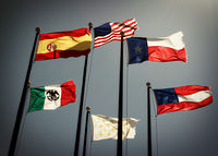 Flags of the six nations that have had sovereignty over some or all of the current territory of Texas