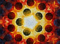 Oil painting by Urs Schmid (1995) of a Penrose tiling using fat and thin rhombi.