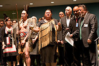 New Zealand delegation at the United Nations Permanent Forum on Indigenous Issues. New Zealand endorsed the Declaration on the Rights of Indigenous Peoples in April 2010.