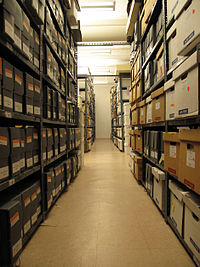 Section of the archival stacks at the GLBT Historical Society (Aug. 8, 2010).