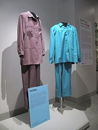 Pantsuits worn by Del Martin and Phyllis Lyon to their weddings in San Francisco in 2004 and 2008; on display at the GLBT History Museum.