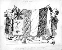 """A 1911 political cartoon on Canada's bicultural identity showing a flag combining symbols of Britain, France and Canada; titled """"The next favor. 'A flag to suit the minority.'"""""""