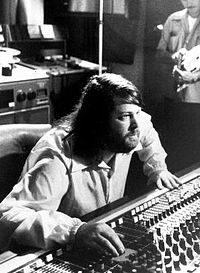 Brian Wilson at a mixing board in Brother Studios, 1976