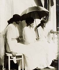 Grand Duchesses Tatiana, left, and Olga Nikolaevna, far right, with their mother, Tsarina Alexandra, center, in captivity at Tobolsk in the spring of 1918