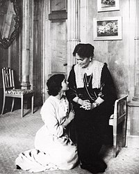 Grand Duchess Tatiana with her mother in about 1914. Her hair was cropped short following a bout of typhoid in 1913.
