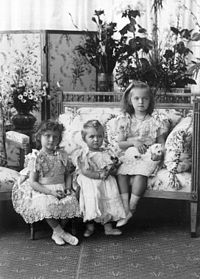 Grand Duchesses Tatiana, Maria and Olga in a formal portrait taken in 1900