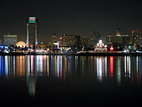 View of downtown from the Queen Mary at night