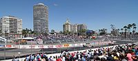 2005 Grand Prix of Long Beach, showing turn 10 and the Long Beach skyline