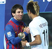 Lionel Messi with the Golden Ball greets Bronze Ball recipient Neymar after the 2011 Club World Cup Final
