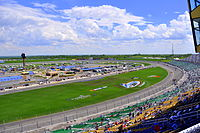 The front stretch and infield of Kansas Speedway