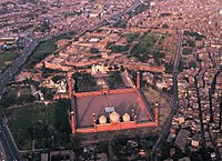 Lahore's Hazuri Bagh is at the centre of an ensemble of Mughal and Sikh era monuments, including the Badshahi Mosque, Lahore Fort, Roshnai Gate, and the Samadhi of Ranjit Singh.