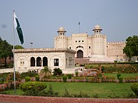 The iconic Alamgiri Gate of the Lahore Fort was built in 1674, and faces Aurangzeb's Badshahi Mosque.