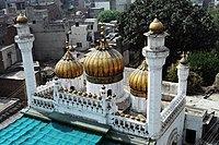 The Sunehri Mosque was built in the Walled City of Lahore in the early 18th century, when the Mughal Empire was in decline.
