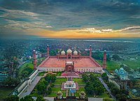 The area around the Badshahi Mosque which shows the Mughal Era at its best.