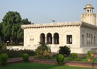 The marble Hazuri Bagh Baradari was built in 1818 to celebrate Ranjit Singh's acquisition of the Koh-i-Noor diamond.