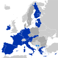 Slovakia is part of the Schengen Area, the EU single market, and since 2009, the Eurozone (dark blue)
