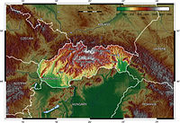A topographical map of Slovakia