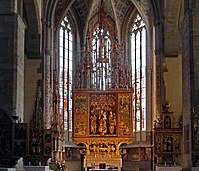Main altar in the Basilica of St. James, crafted by Master Paul of Levoča, 1517. It is the tallest wooden altar in the world.