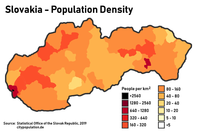 Population density in Slovakia. The two biggest cities are clearly visible, Bratislava in the far west and Košice in the east.