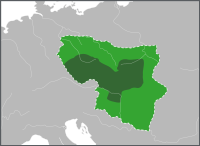 Certain and disputed borders of Great Moravia under Svatopluk I (according to modern historians)