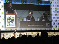 (L-R) moderator Geoff Boucher, producer Kevin Feige and Wright at the 2012 San Diego Comic-Con