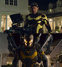 For Yellowjacket sequences, Stoll wore a motion capture suit while on set (top), which was replaced by an entirely digital creation built by Double Negative (bottom).