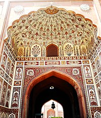 The intricately painted entryway