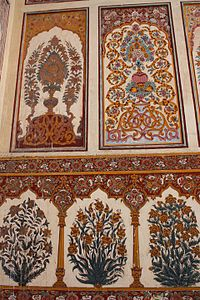 The mosque features intricate Mughal frescoes.
