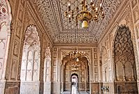 Badshahi Mosque is renowned for the carved marble and elaborate plasterwork that are used throughout the mosque's interior.