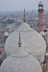 A view over the mosque's marble domes.