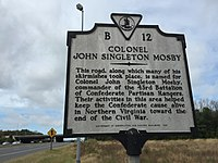 Mosby historical marker in Virginia