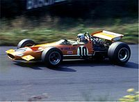 The McLaren M7A of 1968 gave McLaren their first Formula One wins. It is driven here by Bruce McLaren at the Nürburgring in 1969.