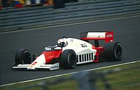 Alain Prost, pictured here at the 1985 German Grand Prix, won three Drivers' Championships with McLaren.