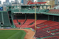 """Although it is only 302 feet to """"Pesky's Pole"""", the fence directly behind it sharply curves away."""